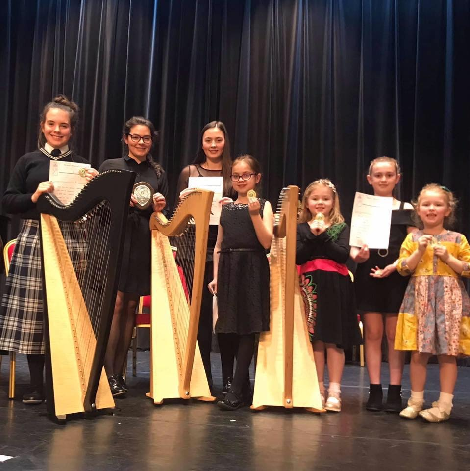 Pupils with awards after a performance